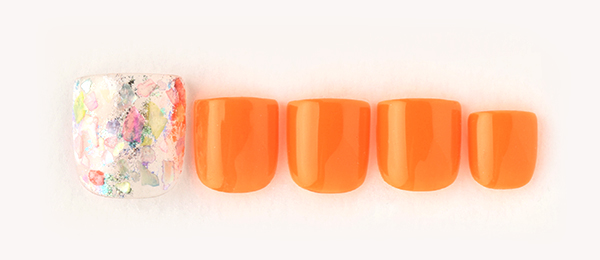neon orange × colorful shell(長谷川 夏織) | ネイルサロンtricia(トリシア)銀座店