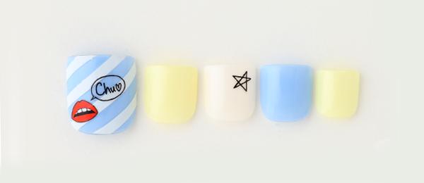 Diagonal stripe & Lip pattern(井上 美由紀) | ネイルサロンtricia(トリシア)銀座店